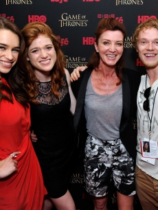 Emilia Clarke, Rose Leslie, Michelle Fairley, and Alfie Allen attend the 'Game Of Thrones' HBO celebration party inside the WIRED Cafe at Palm Terrace At The Omni Hotel during Comic-Con International 2012 on July 13, 2012