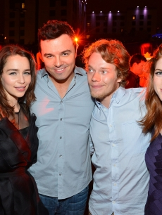 Emilia Clarke, Seth MacFarlane, Alfie Allen and Rose Leslie attend the Playboy and True Blood 2012 Event on July 14, 2012