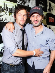 Norman Reedus (L) and Andrew Lincoln attend &#8216;The Walking Dead&#8217; 100th Issue Black-Carpet event powered by Hyundai and Future US at PETCO Park on July 13, 2012 