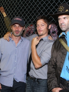 Andrew Lincoln and Norman Reedus attend &#8216;The Walking Dead&#8217; 100th Issue Black-Carpet event powered by Hyundai and Future US at PETCO Park on July 13, 2012