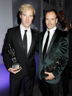 Best Actor joint winners Benedict Cumberbatch and Jonny Lee Miller attend an after party following the 57th Evening Standard Theatre Awards at The Savoy Hotel, London, on November 20, 2011
