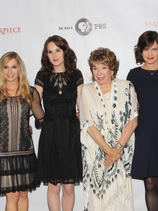 Hugh Bonneville, Joanne Froggatt, Michelle Dockery, Shirley MacLaine, Elizabeth McGovern and Brendan Coyle attend the Masterpiece Classic 'Downtown Abbey, Season 3' panel during day 1 of the PBS portion of the 2012 Summer TCA Tour held at the Beverly Hilton Hotel on July 23, 2012