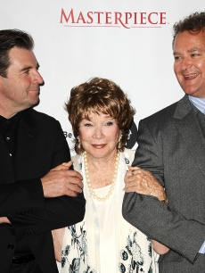 Brendan Coyle, Shirley MacLaine and Hugh Bonneville attend the 'Downton Abbey' photo call at the Beverly Hilton Hotel on July 21, 2012