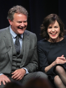 Hugh Bonneville and Elizabeth McGovern speak onstage at the Masterpiece Classic 'Downtown Abbey, Season 3' panel during day 1 of the PBS portion of the 2012 Summer TCA Tour held at the Beverly Hilton Hotel on July 23, 2012