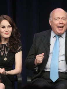 Michelle Dockery and Julian Fellowes speak onstage at the Masterpiece Classic 'Downtown Abbey, Season 3' panel during day 1 of the PBS portion of the 2012 Summer TCA Tour held at the Beverly Hilton Hotel on July 23, 2012