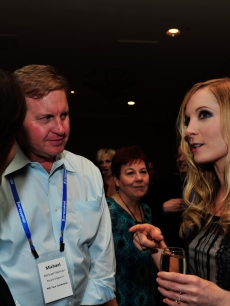 Joanne Froggatt speaks with reporters after the 'Downton Abbey' panel at the TCA summer tour 2012 at the Beverly Hilton Hotel, July 21, 2012