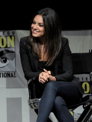 Mila Kunis speaks at the 'Oz: The Great and Powerful' panel during Comic-Con International 2012 at San Diego Convention Center in San Diego on July 12, 2012