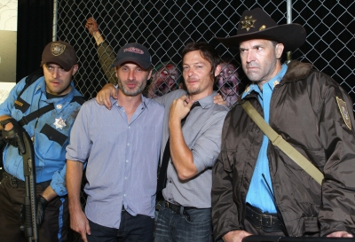 Andrew Lincoln and Norman Reedus attend 'The Walking Dead' 100th Issue Black-Carpet event powered by Hyundai and Future US at PETCO Park on July 13, 2012
