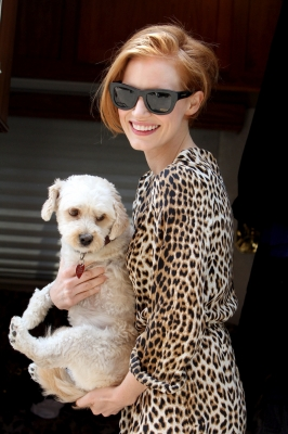 Jessica Chastain is spotted out walking her dog Chaplin in New York City on July 23, 2012