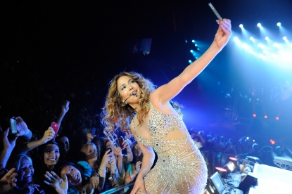 Jennifer Lopez performs during her co-headlining tour with Enrique Iglesias at Prudential Center in Newark, New Jersey on July 20, 2012