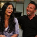 Jenni 'JWoww' Farley and boyfriend Roger laugh it up on the set of Access Hollywood Live set on July 23, 2012