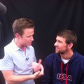 Billy Bush gets personal with U.S. swimmer Michael Phelps at the 2012 Summer London Olympics on July 25, 2012