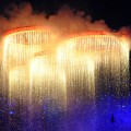 The Olympic rings are assembled above the stadium in a scene depicting the Industrial Revolution during the Opening Ceremony of the London 2012 Olympic Games at the Olympic Stadium in London on July 27, 2012