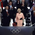 Britain's Queen Elizabeth II arrives during the opening ceremony of the London 2012 Olympic Games at the Olympic stadium in London on July 27, 2012