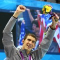 Michael Phelps celebrates after his gold medal – and record-setting win for most decorated Olympic athlete ever — after the Men's 4 x 200m Freestyle Relay final on Day 4 of the London 2012 Olympic Games at the Aquatics Centre on July 31, 2012