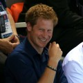 Prince Harry is spotted on Day 5 of the London 2012 Olympic Games at the Aquatics Centre in London on August 1, 2012 
