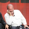 Kelsey Grammer speaks on a cell phone at the &#8216;Boss&#8217; discussion panel during the Starz portion of the 2012 Summer Television Critics Association tour at the Beverly Hilton Hotel on August 2, 2012