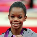 Gabrielle Douglas of the United States celebrates after winning the gold medal in the Gymnastics Women's Individual All-Around final at the London 2012 Olympic Games on August 2, 2012