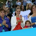 Mother of gold medallist Michael Phelps of the United States, Debbie Phelps(L) and his sisters Hilary (C) and Whitney (R) watch the medal ceremony for the Men's 4x100m medley Relay Final on Day 8 of the London 2012 Olympic Games at the Aquatics Centre on August 4, 2012