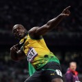 Usain Bolt of Jamaica celebrates winning gold in the Men&#8217;s 100m Final on Day 9 of the London 2012 Olympic Games at the Olympic Stadium in London on August 5, 2012 