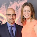 Stanley Tucci and Felicity Blunt arrive at 'The Hunger Games' Los Angeles premiere at Nokia Theatre L.A. Live in Los Angeles on March 12, 2012