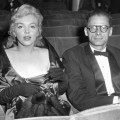 Marilyn Monroe and her husband, Arthur Miller, are pictured at the Comedy Theatre in London for the first night of Miller&#8217;s play, &#8216;A View from the Bridge,&#8217; London, Oct. 11, 1956