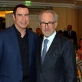 John Travolta and Steven Spielberg attend the Hollywood Foreign Press Association's 2012 Installation Luncheon held at the Beverly Hills Hotel in Beverly Hills, Calif. on August 9, 2012