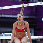 Kerri Walsh Jennings of the United States celebrates as she and Misty May-Treanor defeat China during the Women's Beach Volleyball Semifinals on Day 11 of the London 2012 Olympic Games at Horse Guards Parade August 7, 2012