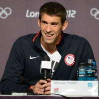 Michael Phelps gives a press conference on the eve of the London 2012 Olympic Games on July 26, 2012