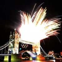 Fireworks go off from the Tower Bridge in London during the opening ceremony of the London 2012 Olympic Games n July 27, 2012