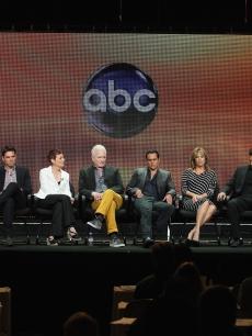 Executive Producer Frank Valentini, actress Laura Wright, actor Jason Thompson, actress Jane Elliot, actor Anthony Geary, actor Maurice Benard, actress Nancy Lee Grahn, actor Steve Burton, actress Kelly Monaco and actor Michael Easton speak onstage at the 'General Hospital' panel during day 6 of the Disney ABCTelevision Group portion of the 2012 Summer TCA Tour at The Beverly Hilton Hotel on July 26, 2012