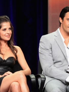 Kelly Monaco and Gilles Marini speak onstage at the 'Dancing with the Stars: All-Stars' panel during the Disney/ABC Television Group portion of the 2012 Summer TCA Tour on July 27, 2012
