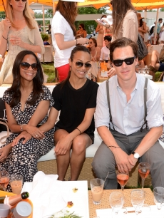 Cisely Saldana, Zoe Saldana and Benedict Cumberbatch pose at the VIP Marquee during the fifth Annual Veuve Clicquot Polo Classic, Jersey City, on June 2, 2012 
