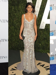Kim Kardashian at Valentino's 50th Anniversary on March 27, 2012 (left); Selena Gomez at the 2012 Vanity Fair Oscar Pary on February 26, 2012 (middle); Justin Bieber attends 102.7 KIIS FM's Wango Tango on May 12, 2012 (right)