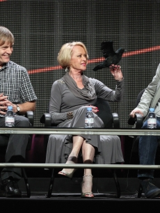 Director Julian Jarrold, actress Tippi Hedren and actor Toby Jones speak onstage during the HBO Summer 2012 TCA Panel at The Beverly Hilton Hotel on August 1, 2012