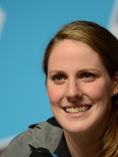 Missy Franklin of the United States speak to the media during a press conference on Day 8 of the London 2012 Olympic Games at the Aquatics Centre on August 4, 2012 