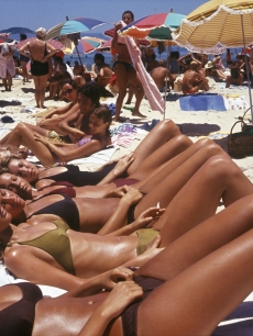 Women sunbathing on Ipanema Beach, Rio de Janeiro, circa 1990
