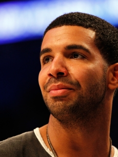 Drake looks on during the 2012 NBA All-Star Game at the Amway Center, Orlando, on February 26, 2012
