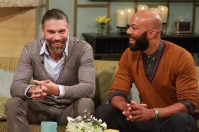 Anson Mount and Common stop by to share some memorable moments from their AMC show 'Hell on Wheels' with Kit Hoover and guest co-host Lisa Rinna on the set of Access Hollywood Live on July 31, 2012