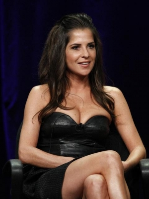 Kelly Monaco sits on stage at the 'Dancing with the Stars' All-Stars cast announcement event at the Television Critics Association summer tour, at the Beverly Hilton Hotel, Beverly Hills, July 27, 2012