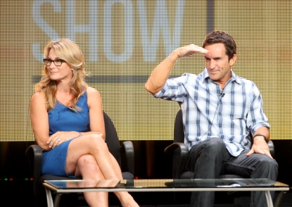 Executive producer Amy Coleman and host/executive producer Jeff Probst speak at the 'The Jeff Probst Show' discussion panel during the CBS portion of the 2012 Summer Television Critics Association tour at the Beverly Hilton Hotel on July 29, 2012