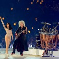 Brian May and Roger Taylor of Queen perform alongside Jessie J during the Closing Ceremony on Day 16 of the London 2012 Olympic Games at Olympic Stadium on August 12, 2012