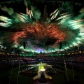 Fireworks during the Closing Ceremony on Day 16 of the London 2012 Olympic Games at Olympic Stadium on August 12, 2012