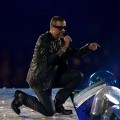 George Michael performs during the Closing Ceremony on Day 16 of the London 2012 Olympic Games at Olympic Stadium, London, on August 12, 2012