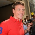 Ryan Lochte leaves the NBC Rockefeller Center Studios in New York City on August 23, 2012