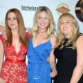Isla Fisher, Kirsten Dunst and Rebel Wilson at the 'Bachelorette' premiere, inset: Prince Harry