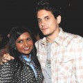 Mindy Kaling and John Mayer pose at a party for 'The Mindy Project' at Skybar in Los Angeles on August 25, 2012