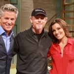 Ron Howard poses on the set of Access Hollywood Live with Kit Hoover and guest co-host Donny Deutsch on August 17, 2012