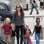 Angelina Jolie sighted arriving at The London Aquarium with her children Shiloh, Knox, Vivienne and Zahara in London on July 25, 2011