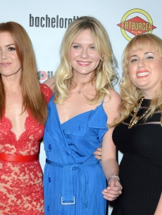 Isla Fisher, Kirsten Dunst and Rebel Wilson at the &#8216;Bachelorette&#8217; premiere, inset: Prince Harry
